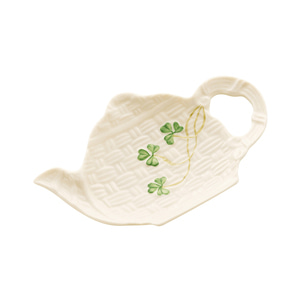 [Belleek] Shamrock Spoon & Teabag Rest