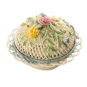 [Belleek] Round Covered Basket S/S